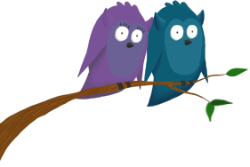 Owls on a branch illustration